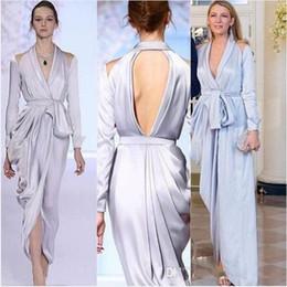 Blake lively dresses online shopping - Silver Asymmetrical Split Evening Dresses Long Sleeve Blake Lively V neck Elegant Dubai Arabic Occasion Prom Formal Dress