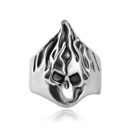 Rings Flaming NZ - jewelry vintage silver plated alloy high polished men fire blaze flame ring hair Skull ring Big surface Skeleton rings for women 2017 j203