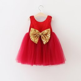 Korean Winter Party Dresses Canada - Children Xmas Clothing Korean Girl Sequin Bownot Princess Party Dress Kids Fluffy Tutu Wedding Full Dress