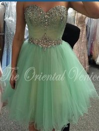 Barato Barato Branco Querida Prom-2016 New Mint Green Crystal Vestidos Homecoming Sweetheart Beading Modest Short Soft Tulle White Prom Party Cocktail Vestidos Cheap Custom