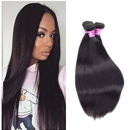 Sew Weave Hair Extensions UK - Ushine Cheap Human Hair Weave Sew In Extension Wholesale Brazilian Straight Hair Peruvian Virgin Hair Soft and Thick On Sale