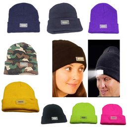 Plain Camp Hat Australia - 5 LED lights Beanies Hat Winter Hands Warm Angling Hunting Camping Running Caps M061