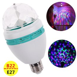 led color rotating lamp bulb UK - Wholesale- Full Color E27 LED lamp B22 LED RGB Bulb Auto Rotating Stage light AC85V-265V 110V 220V For Home Decoration Disco Party Dance