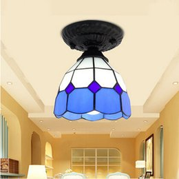 Ceiling Light Stained Glass Lampshade Mediterranean Sea Style Dining Room Lamparas Luminaria E27 110 240V Free Shipping Lights On