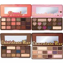 Sweet 16 Gifts NZ - HOT Makeup Chocolate Bar Eyeshadow semi-sweet Sweet Peach Bon Bons Palette 16 Color Eye Shadow plates +gift