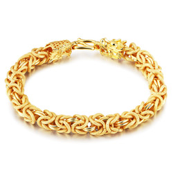 Bracelet Chain Solid Gold UK - Thick Heavy Wrist Bracelet Chain 18kk Yellow Gold Filled Mens Solid Bracelet Mens Jewelry Classic Gift 7.87 inches