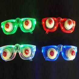 Barato Anos De Óculos De Criança-Moda LED piscando Pop Out Dropping Eyeballs Óculos Glowing Glasses Light Up Brinquedos infantis Christmas New Year Party