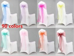 organza bows for decoration Australia - 200pcs Organza Bows For Wedding Chair Sashes For Wed Events Supplies Party Decoration Chair Cover Sash Various Colors To Choose G079