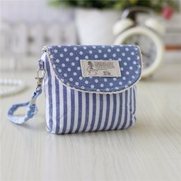 small coin purse for girls Canada - Wholesale- Cotton fabric polka dot striped printing women coin purse mini handbag female small pouch bolsa feminina bolso mujer for girls
