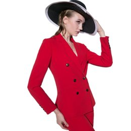 $enCountryForm.capitalKeyWord NZ - Women suit hot sale the latest fashion business suits OL vocational passion red double-breasted long-sleeved women suits(Jacket+Pants)