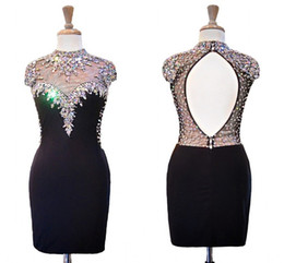 China Vintage Black High Neck Short Cheap Cocktail Prom Dress With Short Sleeves Beaded Crystal Sheath Keyhole Back Evening Homecoming Dress Gowns supplier black sequin plus size prom dress suppliers