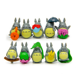 action-zeichentrickfiguren großhandel-10 teile satz Mini Totoro Zeichensatz Display figuren Kinder Spielzeug DIY Kuchen Topper Decor Cartoon Anime Film PVC Action figure
