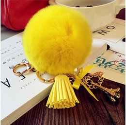 $enCountryForm.capitalKeyWord Australia - 2017 Fashion Women Rabbit Fur Cony Hair Ball Pompom Thrice Tassel Keychain Car Handbag Key Ring Pendant Gift QLK220