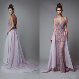 $enCountryForm.capitalKeyWord Canada - Luxury 2016 Light Pink Tulle Sheer Neck Mermaid Evening Dresses Sexy Illusion Back Beaded Crystal With Detachable Skirt Formal Dress EN9296