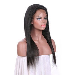22 inch brazilian full lace wig 2019 - Pre Plucked Human Hair Straight Lace Front Wig With Baby Hair 8-30 Inch Natural Color Full Lace Wig No Shedding On Sale