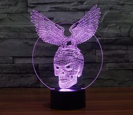 Round Skull NZ - 2016 Skull Eagle Style 3D Optical Night Light 9 LEDs Night Light DC 5V Factory Wholesale