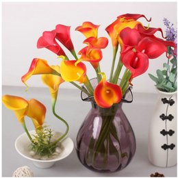 Wholesale Display Tables NZ - DHL free 100pcs lot 2016 Mix color common callalily artificial flower PU 34cm table decorative wedding Display flowers