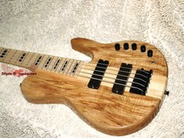 electric bass guitar one Canada - HOT SALE High Quality 5 strings Electric bass guitar Natural one piece body Free Shipping