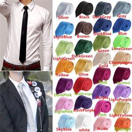 Ingrosso 2017 moda uomo donna magro solido colore pianura raso poliestere cravatta cravatta cravatta cravatta 30 colori 5 cm x 145 cm
