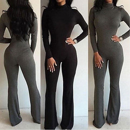 Discount turtleneck jumpsuit long sleeve - Wholesale- Sexy Women's Fashion Pure Color Slim Turtleneck Long Sleeve Jumpsuit Bodysuit Bodycon Rompers