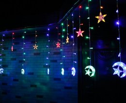 moon string lights NZ - Copper wire star moon led string light 2.5 m *12 holiday light Party Home Garden Decorations 110V 220V Flash Fairy String Light