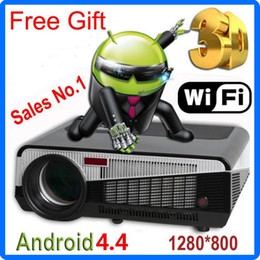 3d tv gaming online shopping - 5500 Lux Android Projector WiFi Smart Led86 D Home Theater Full HD P Advertising Education TV LCD Projectors With D Glasses Gifts