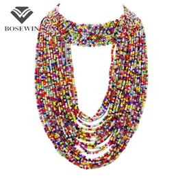 Fashion big long necklaces online shopping - Bohemia Handmade Beaded Statement Necklaces For Women fashion Big Jewelry Wide Choker Long Tassel Collar Necklaces Pendant CE3787