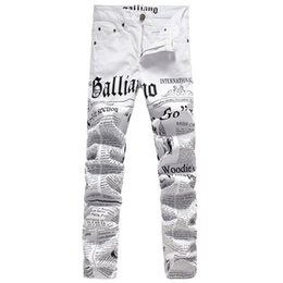 China New Original Design Top Quality Men's Galliano Slim Jeans Punk Rock Nightclub DS DJ Newspaper printed pattern Jeans Hairstylist beggar pants suppliers