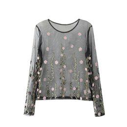 $enCountryForm.capitalKeyWord UK - Mesh elegant see-through floral embroidery long sleeve women tops t shirt fashion transparent sexy O-neck shirts lady Tees shirt