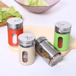 spice bottle lids Australia - 80ML Spice Bottle Powder Shaker Bottle Shaker with Paint Coated Stainless Steel Cover Adjustable Lid 4 Colors