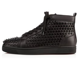 Discount spike stud sneakers - Karmran Mens Genuine Leather Full Studs Rivets Spikes Fashion Sneakers Red Sole Street Dance Flat Shoes Black L034