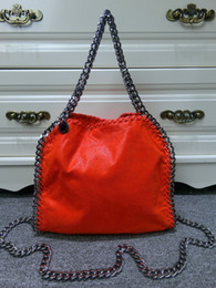 Falabella Chain Bag Canada - DHL Free Shipping! Women's fashion Falabella Shaggy Deer Fold Over 3 Chain SMALL Orange Red Tote Shoulder Bags , Size: 25 x 26 x 10cm