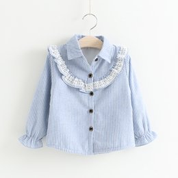 Barato Lace Rifled Jumpers-Baby Girls Lace Striped Shirts Crianças Girl Princess Ruffle Blusa Menina Outono Natal Jumper Tops Bebés Roupas D157