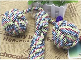 $enCountryForm.capitalKeyWord Canada - 2016 Christmas Big Dog Cotton Chew Knot Toy Durable Braided Bone Rope with balls Random Color Training Tool Wholesale Pets Dogs Supplies