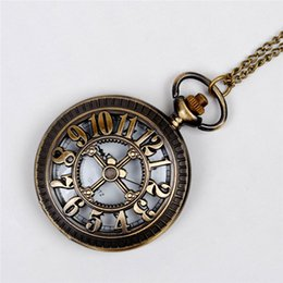 Discount antique wall crosses - Hollow Numerical Cross Pocket Watches necklace Brozne Antique Quartz Watches Locket Wall Clock Necklaces women Christmas