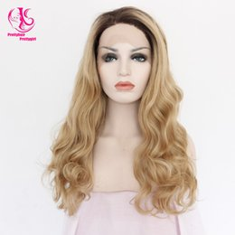 $enCountryForm.capitalKeyWord NZ - Fashion Natural Body wave Blonde wig Synthetic Lace Front Wig Glueless Ombre Dark Brown Blonde Heat Resistant Hair For Women