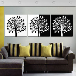 Free Shipping Unframed 3 Pieces Picture Canvas Prints Abstract Black And White Oil Painting Tree Branch Chinese Characters Plum Tulips