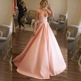 Robe Rose Bon Marché Pas Cher-2017 Sexy Sweetheart sans manches A Line Robe de bal Blush Pink Prom Robes Cheap High Quality Evening Party Robes Train de balayage