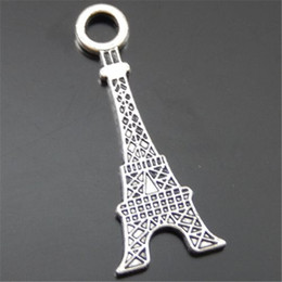 14k jewelry findings UK - 30PCS Pack Antique Silver Zinc Alloy Steel Tower Pendant Charm Jewelry Finding 31*12*1MM 39638 jewelry making