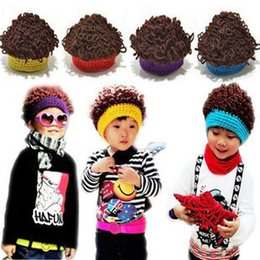 Barato Boné Crochet Primavera-Baby Boy Spring Winter Beanie Girl Explosive Curly Wig afro style cap Children Crochet Caps Bonito Manual Unisex Cap Baby knited Warmth Hat