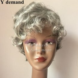 layered hair cut Canada - High quality Short Layered Fluffy Wig For Ladies Pixie Cut Wig Natural Curly Silver White Synthetic Hair