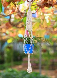 plants hangers Canada - Factory direct selling Decorative Wall Plant Hanger Flowerpot Holder Hand Knitted Hanging Basket Cotton Rope with Macrame Figure of 8