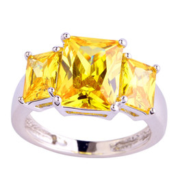 $enCountryForm.capitalKeyWord UK - New Fashion Jewelry Golden Yellow Citrine 18K White Gold Plated Silver Ring Size 7 8 9 10 For women Free Shipping Wholesale