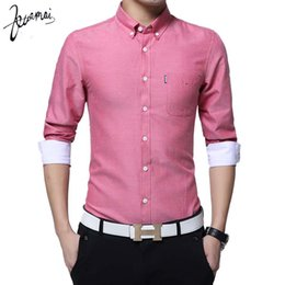 Textile Slim Fit UK - Wholesale- KUAMAI Fashion Casual Men Shirt Long Sleeve Collar Slim Fit Shirt Men Oxford Textile Mens Dress Shirts Men Clothes 5XL