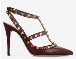Chinese  b112 genuine leather 40 41 42 nude black red green burgundy brown gem pointy strap heels 10cm pumps shoes fashion luxury designer v manufacturers