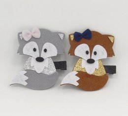 Wholesale 10pc Felt Brown Fox Hair Clip Woodland Cartoon Animal Glitter Fall Autumn Photo Prop Barrette Grey Handmade Mini Bow Hairpin
