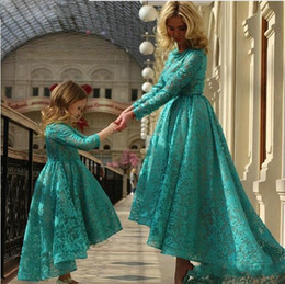 Chinese  lTurquoise lace Mother and Daughter Matchindresses for girls first communion dresses for girls flower girl dresses for weddings manufacturers