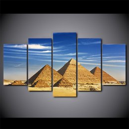 Art Canvas Prints Australia - 5 Panel Egypt Pyramid Landscape HD Printed Wall Art Picture Modern Home Decor Living Room Framed Canvas Painting
