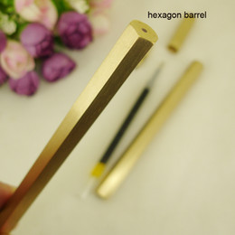 stationery Australia - Normal Hexagon Brass Pen 0.5Mm Brass Handmade Liquid Ink Rollerball Pen Classic Unique Design Office Stationery Gifts Antique Pens 1677B