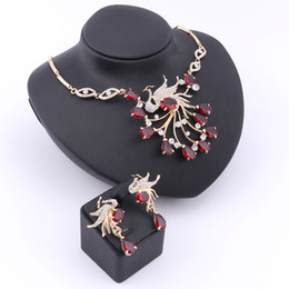 Wholesale Elegant African Nigerian Trendy K Red Gold Plated CZ Waterdrop Necklace Earrings Wedding Party Jewelry Sets bridesmaid gift